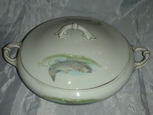 Antigua Guisera pescados Porcelana J&C Portland Bavaria.Fees