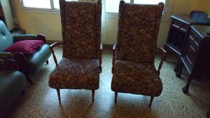 Sillones de roble tapizados en cuero en posot class for Sillones antiguos tapizados