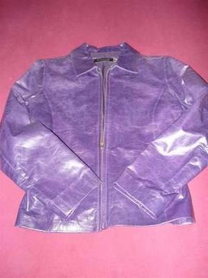 camperas de cuero violeta sacon marron en cuero