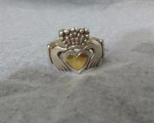 Anillo Plata 925 y oro corazón