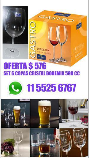 Copas cristal de bohemia Set de 8 copas OFerta Excelente