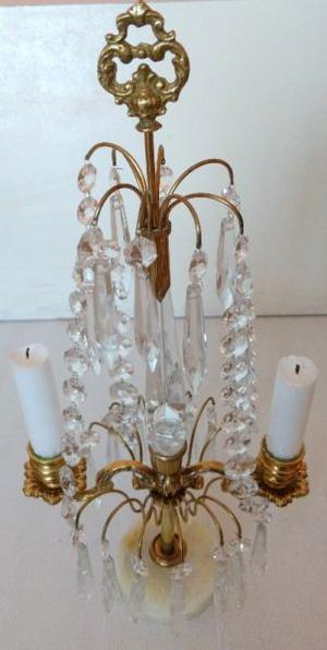 Antiguo Candelabro Bronce Caireles cristal y Marmol