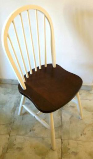 Juego 4 sillas windsor madera nogal macizo estilo nordico