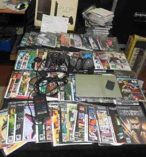 Playstation 2 Slim Chipeada Con 140 Con Juegos, 2 Josticcks