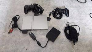 Playstation 2 Slim Silver, 2 Joystick Multitap 85 Juegos