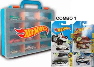 Valija Porta Hot Wheels + 4 Autos Originales Mattel Combo