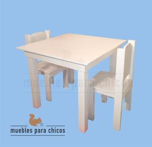 Mesa Y Sillas Infantil De Madera Laqueada Blanco Para Niños