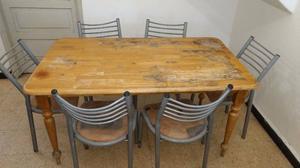 Mesa madera + 6 sillas de caño