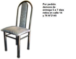 SILLA DE CAÑO REFORZADO tapizada caño negro y caño gris