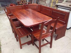 Banco esquinero con mesa y sillas en pino posot class for Banco esquinero con mesa