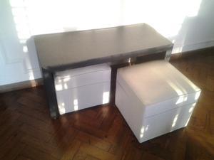 Mesa ratona y 2 cubos $