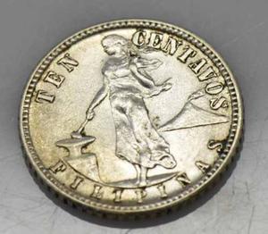 Antigua Moneda De Coleccion Ten Centavos Filipinas