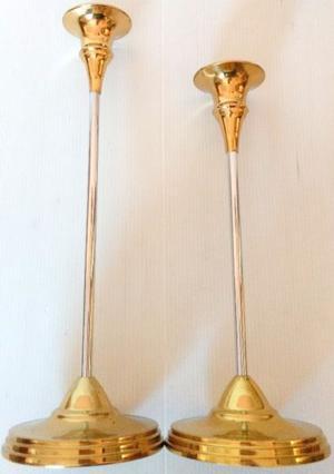 2 Antiguos Candelabros De Bronce y acero