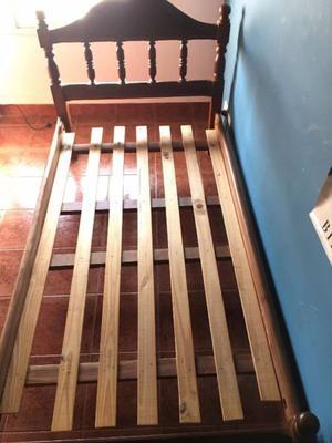 Cama de 1 1/2 + Mesa de luz Algarrobo + Cama carrito
