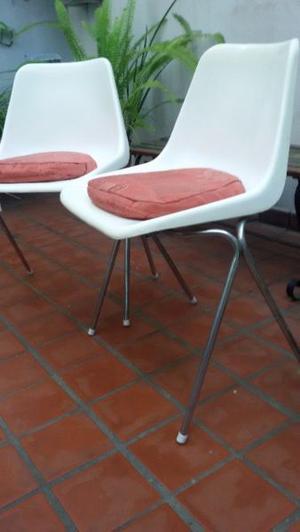 2 sillas hille robin day plastico retro blancas con