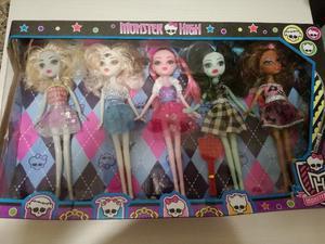 Set 5 Muñecas Monster High 25 Cm Articuladas Zona Sur