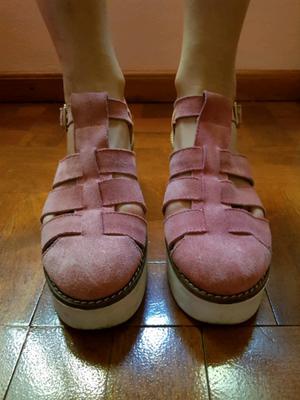 Sandalias de cuero color rosa talle 39