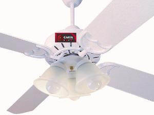 Ventilador Techo Blanco Madera Con Luz Lumer 301 Linea