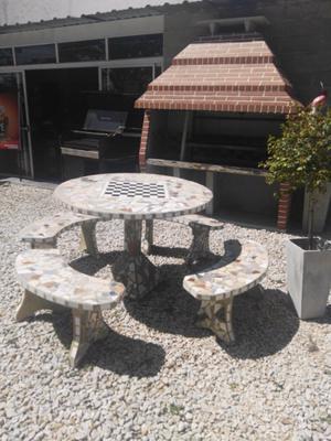 Juego de jardín cemento mesa redonda 4 bancos