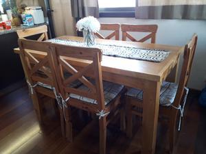 Juego mesa y 6 sillas madera