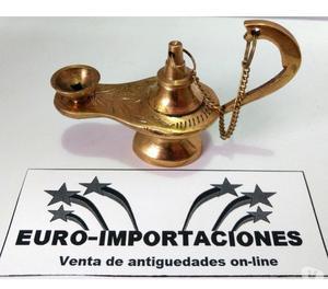Antigua lampara de aladino de bronce porta sahumerio