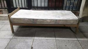 Cama Madera 1 plaza y Colchon Goma Espuma Alta densidad $700