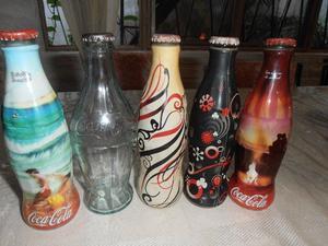 5 Botellas De Coca De Coleccion De 237 Cm Cubicos