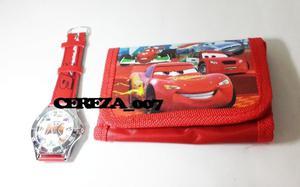 Billetera De Cars + Reloj Puntero De Cars