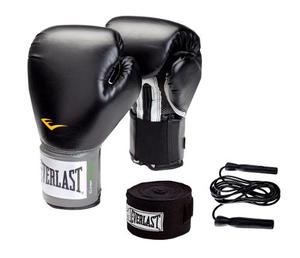 Combo Box Negro:guantes Prostyle Everlast 12 +venda +soga