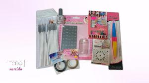 Kit Nail Art, stamping, pinceles, hilos, stiker, esmalte,