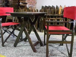 Juego de mesa con 4 sillones tipo director posot class for Mesa plegable falabella