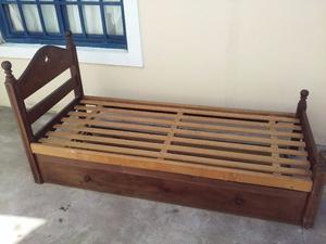cama de 1 plaza de algarrobo con carrocama