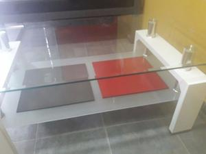 mesa ratona para oficina o living de vidrio templado...
