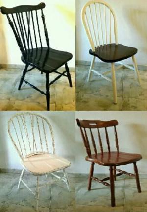 Juego windsor eclectico antiguo 4 sillas madera maciza