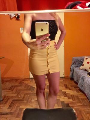 Mini falda pollera ajustada acordonada pollera con botones