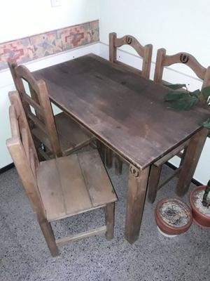 Vendo mesa y sillas de pino