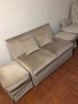Sofa Cama Facyca Design 2 Cuerpos +2 Puff +colchón Sin