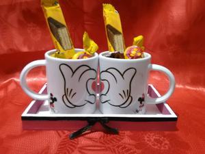 Taza de ceramica con bandeja