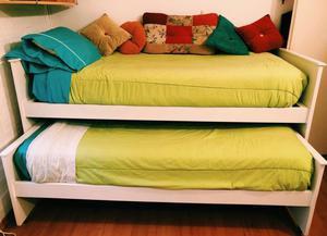 Cama 1 plaza con cama carrito y colchones
