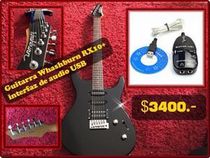 Guitarra Washburn RX10 con funda + interfaz de audio
