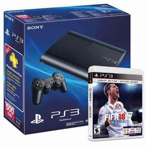 Ps3 Playstation gb Super Slim + Fifa 18 Fisico Sellado