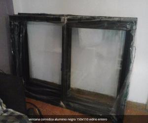 ventana corrediza aluminio negro. linea herrero. medidas