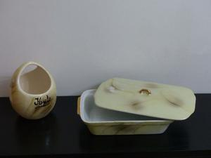 Juego De Hielera Y Fuente C/ Tapa De Cerámica Marmolado