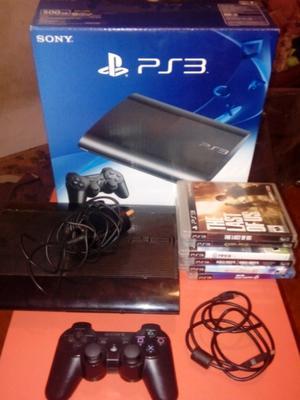 PlayStation 3Slim 500gb con 7 juegos sus cables y un control