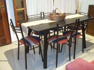 Mesa y 6 sillas en caño reforzado !! Envío gratis !!