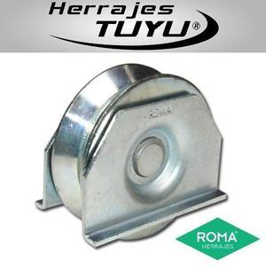 Rueda Para Porton V74 Aplicable Con Soporte Herrajes Roma