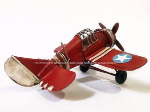 Avión De Chapa Metal Estrellas Escala Decorativo Colección