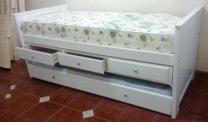 cama capitan, cama 1 plaza con cajonera y carro marinero