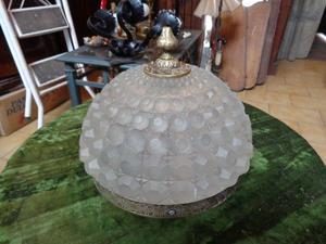 Antiguo plafón vidrio prensado y bronce. Antigua Saudade