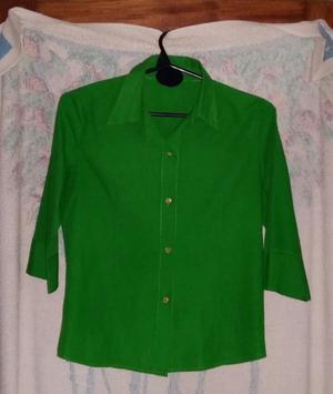 Camisa Mujer Verde Shoking Manga 3/4 Talle S/m Muy Poco Uso